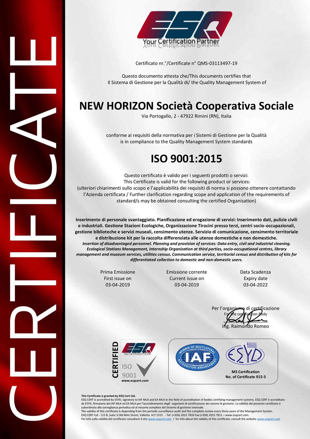 ISO9001-2015---NEW-HORIZON---QMS-Certificate